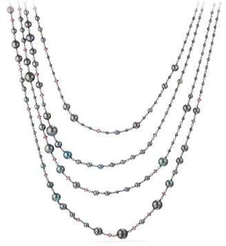 David Yurman Oceanica Pearl And Bead Link Necklace With Grey Pearls