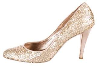 Salvatore Ferragamo Sequined Round-Toe Pumps