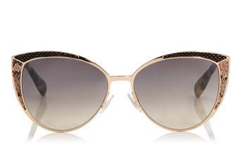 Jimmy Choo DOMI Metal Framed Cat Eye Sunglasses with Snakeskin Leather Detail