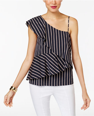 Marled Striped One-Shoulder Tiered Blouse $60 thestylecure.com