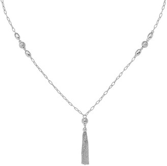 Sterling Beaded Tassel Necklace by Silver Style