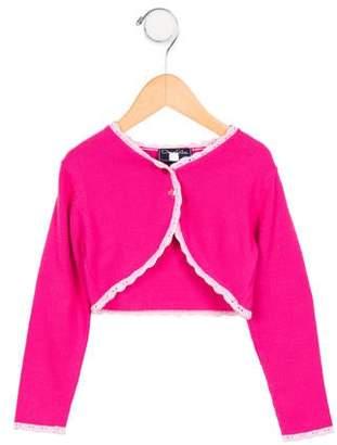 Oscar de la Renta Girls' Crochet-Trimmed Cropped Cardigan w/ Tags
