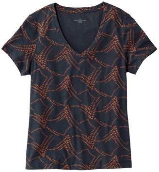 L.L. Bean L.L.Bean Signature Essential Knit V-Neck Tee, Short-Sleeve Print