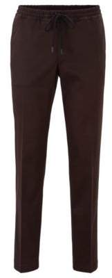 BOSS Slim-fit trousers with drawcord in stretch gabardine