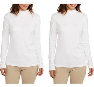 White Stag Women's Basic Long Sleeve Mockneck T-Shirt, 2 pack Value Bundle