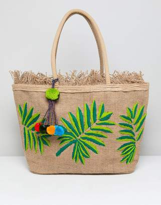 America & Beyond Hand Embroidered Leaf Structured Beach Bag