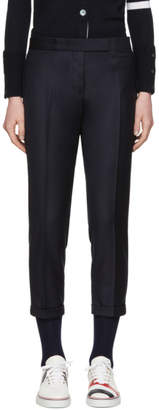 Thom Browne Navy Skinny Cropped Trousers