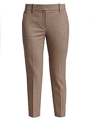 Theory Women's Treeca Plaid Crop Stretch-Wool Trousers