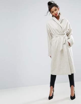aebe90fb6f47 Shawl Collar Coat Cream - ShopStyle