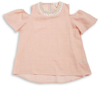 Sophia & Zeke Girls 7-16 Girls Embellished Cold Shoulder Top $34 thestylecure.com