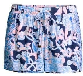 Lilly Pulitzer Women's Katia Drawstring Print Shorts - Bright Navy - Size XXS