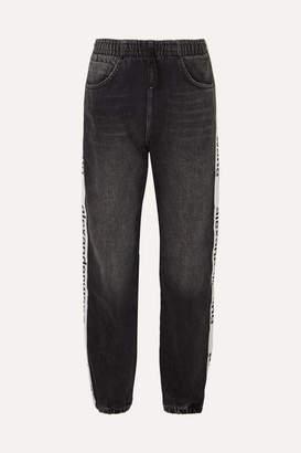 Alexander Wang Grosgrain-trimmed Denim Tapered Track Pants - Dark gray