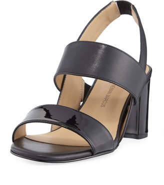 Neiman Marcus Levina Leather Slingback Sandals, Black