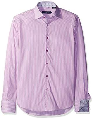 Stone Rose Men's Floral Trim Microstripe Button Down Shirt
