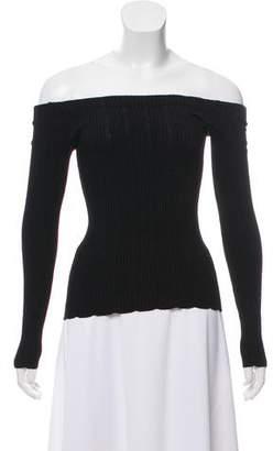 Rag & Bone Long Sleeve Rib-Knit Off-The-Shoulder Top