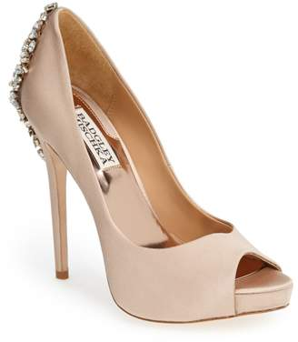 Badgley Mischka Collection 'Kiara' Crystal Back Open Toe Pump