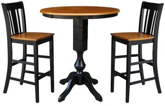 """INC International Concepts 36"""" Round Bar Height Table with 12"""" Leaf and 2 San Remo Stools - Black/Cherry - 3 Piece Set"""