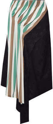 Loewe Asymmetric Satin-jacquard And Striped Stretch-jersey Midi Skirt - Gray green