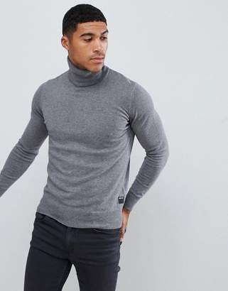 Replay roll neck knitted sweater in gray