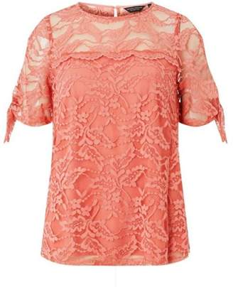 Dorothy Perkins Womens Coral Lace Cold-Shoulder Sleeve Top
