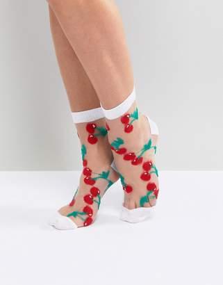 Asos Design Sheer Cherry Socks