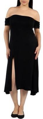 24/7 Comfort Apparel Women's Plus Star Sweep Off Shoulder Dress