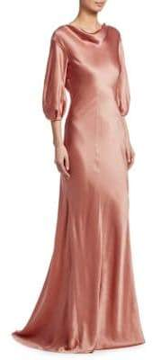 Alberta Ferretti Silk Cowl Gown