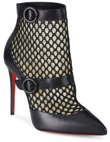 Christian Louboutin Boterboot 100 Leather & Mesh Booties $1,195 thestylecure.com