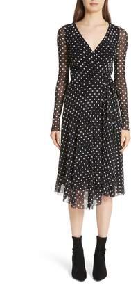 Fuzzi Polka Dot Tulle Wrap Dress