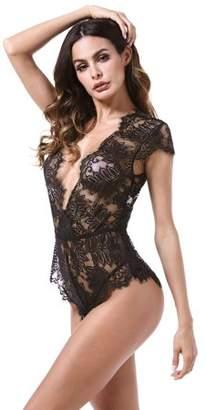 9a71a68147 Acappella Teddy Lingerie Sexy V-Back Eyelash Lace Snaps Crotch Bodysuit  Black Large