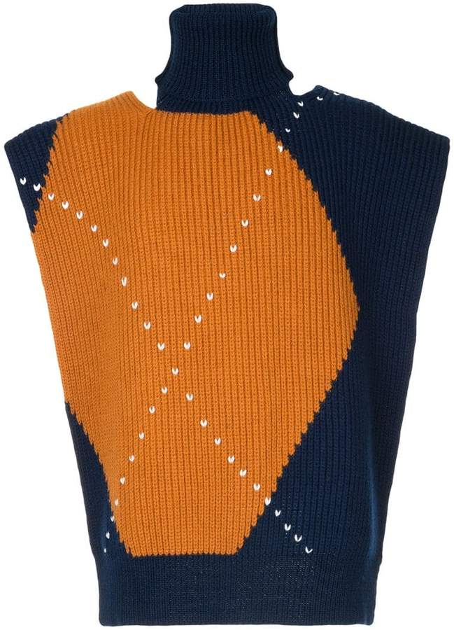 colour-block knitted vest