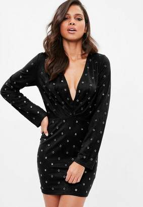 Missguided Black Faux Suede Plunge Eyelet Bodycon Dress