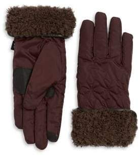 Echo Geometric Faux Fur Gloves