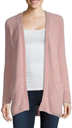 Liz Claiborne Long Sleeve Open Neck Open Front Cardigan