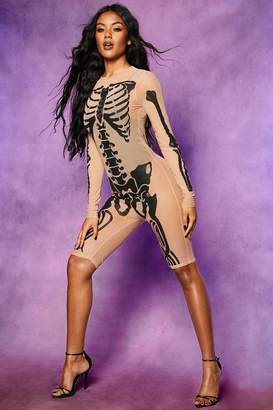 boohoo Halloween Skeleton Mesh Playsuit