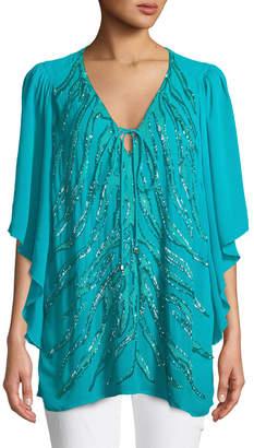 Roberto Cavalli Flutter-Sleeve Embellished Tunic, Turquiose