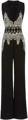Cucculelli Shaheen Floreale Armore Embroidered Silk Jumpsuit