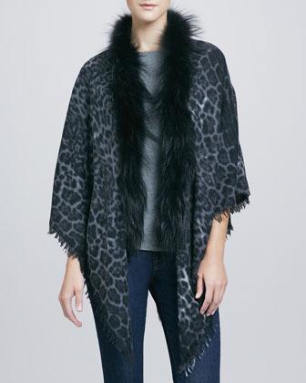 Sofia Cashmere Fox-Trim Cashmere Triangle Shawl, Leopard-Print