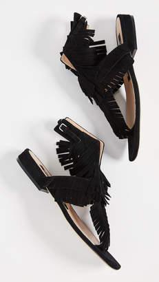 Sergio Rossi Fringe Flat Sandals