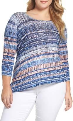 Nic+Zoe Oceanside Print Linen Blend Sweater