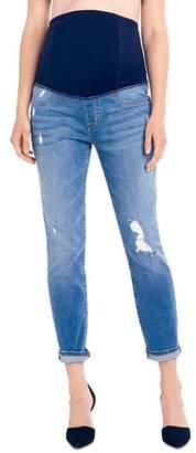 Ingrid & Isabel Maternity Mia Boyfriend Jeans in Distressed Medium Wash