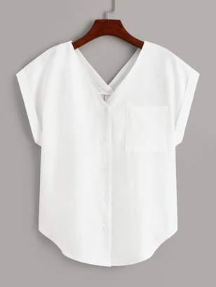 Shein V-neck Button Front Pocket Blouse
