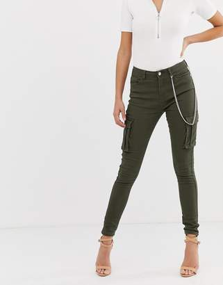 Missguided skinny cargo jeans in khaki