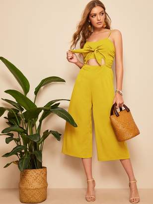 Shein Knot Front Cut Out Shirred Wide Leg Jumpsuit