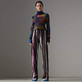 Burberry Striped Cotton Silk Satin Tailored Trackpants