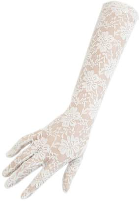 Black Long Ivory Fine Lace Gloves