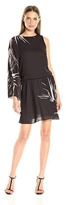 Halston Women's One Sleeve Round Neck Flowy Printed Mini Dress