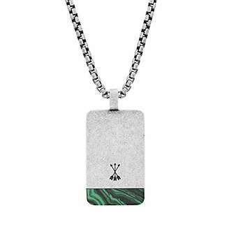"Steve Madden Men's Green Simulated Malachite Accent Dogtag Necklace on 26"" Box Chain in Stainless Steel"