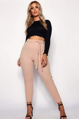boohoo Plus Crepe Contrast Stitch Skinny Trouser