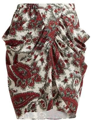Isabel Marant Tilena Paisley Print Crepe Skirt - Womens - Red Multi